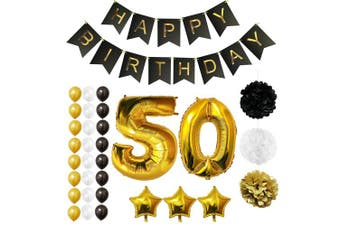 (Age 50) - BELLE VOUS Happy Birthday Party Balloons, Supplies & Decorations All-in-One Set - Large 50 Years Foil Balloon - Latex Balloon Decoration - Decor Suitable for All Adults (Age 50)