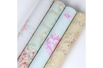 (Yellow-Rose) - Ya Jin Vintage Flower Shelf Liner Dresser Drawer Sticker Self-Adhesive Cabinet Desk Contact Paper Yellow-Rose