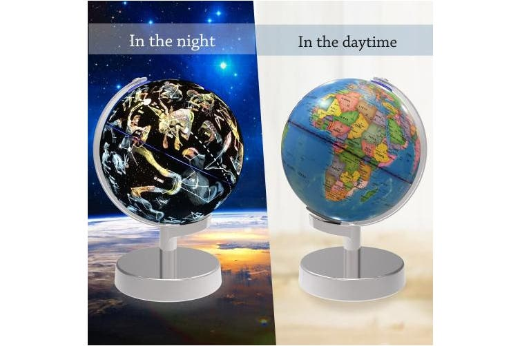 Illuminated World Globe, 2 in 1 Globe Earth and Constellations Built in LED for Illuminated Night View, Senders 8-Inch Educational World Globe for Gift Home Office Desk Decoration