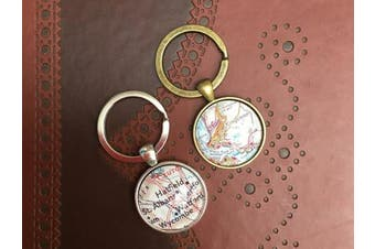(Bronze) - Antique Bronze Custom Personalised Map Locations Glass Dome Round Cabochon Keyring Keychain Gift UK