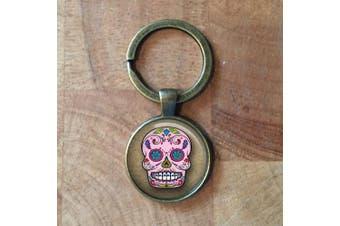 (Silver) - Silver Plated Day Of The Dead Sugar Skull Keyring Keychain| dia de los muertos| halloween| sugar skulls| skull| gift for her| sugar skull| christmas gift