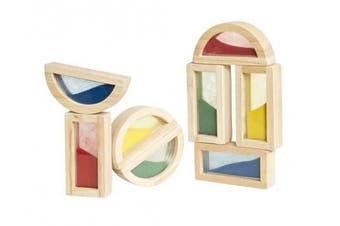(Sand) - Guidecraft 8-pc. Rainbow Sand Building Blocks Set