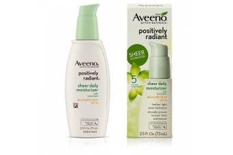 Aveeno Positively Radiant Sheer Daily Moisturising Lotion for Dry Skin with SPF 30, 70ml
