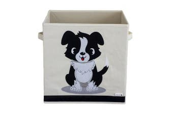 Sun Cat Storage Box / Cube / Organiser - Dog Design - Durable Reinforced Canvas Fabric - 33cm x 33cm x 33cm - Fits Multi Storage Shelves - The Perfect Animal Storage Box for Kids