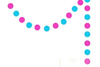 (Pansy & Blue Circle) - 4M STRING PAPER BUNTING GARLAND PARTY DECORATION (Pansy & Blue Circle)