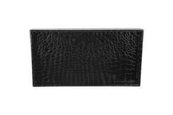 Home Basics Crocodile Black Vanity Tray