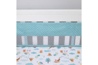(Aqua/White/) - Disney Winnie The Pooh First Best Friend Secure-Me Crib Liner, Aqua/White