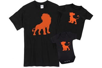 (Toddler 2-3yrs T Shirt, Black) - ART HUSTLE Lion and Cub Father and Baby Matching Outfits (Sold Separately)