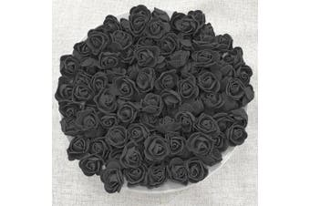 (100) - Black 30mm Foam Rose Flowers Decorative Craft Flowers (100)