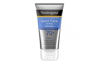 (70ml) - Neutrogena Sport Face Oil-Free Lotion Sunscreen with Broad Spectrum SPF 70+, Sweatproof & Waterproof Active Sunscreen, 70ml