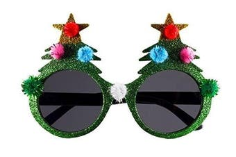 (Green Christmas Tree Glasses) - BFD One Pair Of Festive Christmas Xmas Secret Santa Funny Sunglasses. One Size Fits All Ideal For Men And Women Ladies Christmas Novelty Sun Glasses Plastic Frame, Wipe Clean With Cloth Many Designs