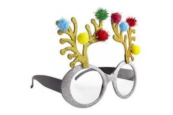 (Silver Reindeer Glasses) - BFD One Pair Of Festive Christmas Xmas Secret Santa Funny Sunglasses. One Size Fits All Ideal For Men And Women Ladies Christmas Novelty Sun Glasses Plastic Frame, Wipe Clean With Cloth Many Designs