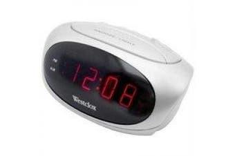 (White) - Westclox 1.5cm LED Display Super Loud Alarm Snooze White Alarm Clock 70044B