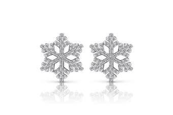 (306) - B.Catcher Sterling Silver Snowflake Earrings Cubic Zirconia 925 Silver Stud Eearring