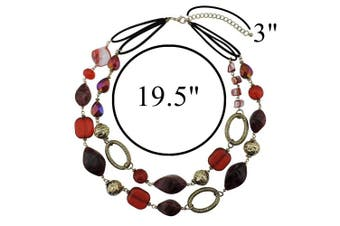 (370) - BOCAR 2 Strand Statement Choker Shell Necklace and Earring Set for Women Gift