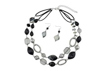 (black) - BOCAR 2 Strand Statement Choker Shell Necklace and Earring Set for Women Gift