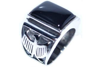 (Q) - Mens Solid Sterling 925 Silver Black Onyx Gents Signet Ring, Eagle Logo Antique Look! Sizes N to Z+5