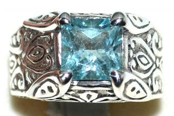 (Q) - Sterling Silver Authentic Blue Topaz Solitaire Mens Gents Ring. Sizes M to Z+5