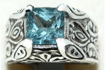 (V) - Sterling Silver Authentic Blue Topaz Solitaire Mens Gents Ring. Sizes M to Z+5