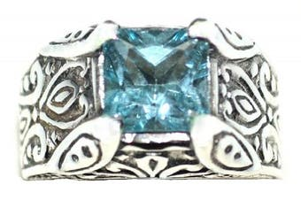 (W) - Sterling Silver Authentic Blue Topaz Solitaire Mens Gents Ring. Sizes M to Z+5
