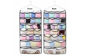 Colleer 42 Pockets Hanging Door Wardrobe Storage Jewellery Shoe Bra Underwear Socks Ties Organiser with Hanger