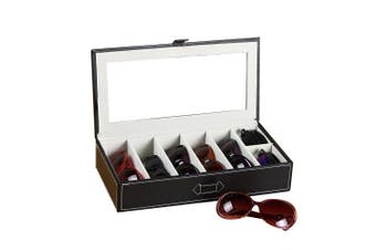 (Black) - UnionPlus 5-Slot Eyeglass Sunglass Glasses Organiser Collector - Faux Leather Storage Case Box (Black)