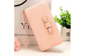 (Pink) - Leather Clutch Wallet, LAPOPNUT Chic Bowknot Girly Phone Package Handbag with Bow Long Section Clutch Bag Phone Wallets Case with Hand Strap Card Slot for Ladies Pink