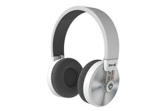 PopClik 2 ONE PRO Headphone WHITE / grey Leather Elegance and Soft-Spoken Steel 50 mm Neodymium Magnet Driver Over the Ear