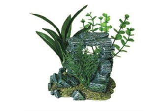 (5-1/2 by 4 by 5-1/2) - Exotic Environments Rock Arch with Plants Aquarium Ornament, Small