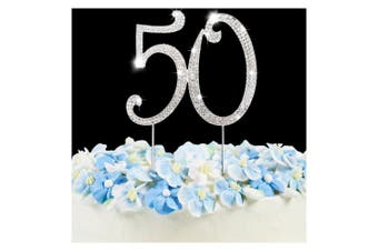 (Silver 50) - 50 Cake Topper | Premium Bling Rhinestone Diamond Gems | 50th Birthday or Anniversary Party Decoration Ideas | Quality Metal Alloy | Perfect Keepsake …