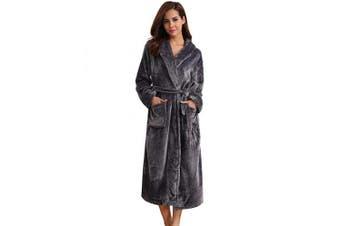(L [UK(16-18)/EU(44-46)], Dark Grey) - Aibrou Dressing Gown, Unisex Coral Fleece Bathrobe Warm Soft & Cosy Towelling Robe Housecoat with Full Length for Men Women