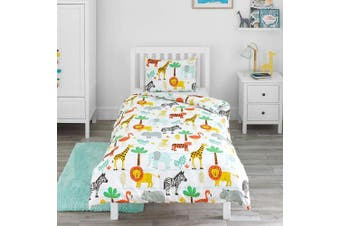 (Cotbed Duvet Set) - Bloomsbury Mill - Safari Adventure - Jungle Animals - Kids Bedding Set - Junior/Toddler/Cot Bed Duvet Cover and Pillowcase