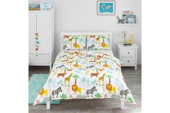 (Double Duvet Set) - Bloomsbury Mill - Safari Adventure - Jungle Animals - Kids Bedding Set - Double Duvet Cover and 2 Pillowcases