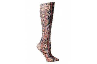 (Black Versache) - Celeste Stein Therapeutic Compression Socks, Black Versache, 8-15 mmhg, 1-Pair