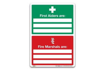 (A4 297x210mm) - First Aiders Are Fire Marshals Are Sign - A4 Self-adhesive Vinyl - First Aid Emergency Safety