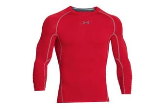 (M, Red / Steel (600)) - Under Armour HG ARMOUR Men's Long-Sleeve Shirt