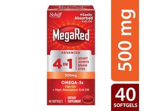 Schiff Megared Advanced 4 in1 500 Mg Omega 3 Supplement 40 ea