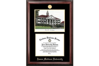 James Madison University 30cm x 41cm Gold Embossed Diploma Frame with Campus Image