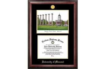 University of Missouri 28cm x 22cm Gold Embossed Diploma Frame with Campus Images Lithograph