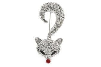 Clear Crystal Fox Brooch In Silver Tone Metal - 55mm L