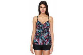 (M(UK12), Paisley) - CharmLeaks Women Tankini with Shorts Padded Swimming Costume Two Piece Tie Front Swimwear