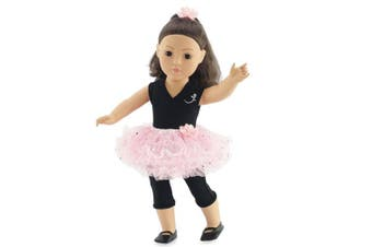 Fits 46cm American Girl Dolls | Ballerina Outfit with Black Unitard, Pink Tutu, Hair Piece and Dance Shoes | 46cm Doll Ballet Clothes | Gift-boxed!
