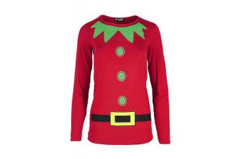 (Age 7/8 years, Red) - Be Jealous Kids Girls Children Long Sleeve Christmas Elf Costume Xmas Jersey T Shirt Top UK Size 5-13