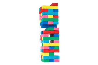 Classic Wooden Blocks Stacking Game with Coloured Wood and Carrying Bag for Indoor and Outdoor Play for Adults, Kids, Boys and Girls by Hey! Play!