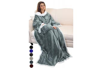 (Grey) - Catalonia Platinum Blanket with Sleeves, Dual Microplush Fleece Sherpa Warm Blankets for Adult Women Men 183cm x 140cm, Grey