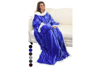 (Blue) - Catalonia Platinum Blanket with Sleeves, Dual Microplush Fleece Sherpa Warm Blankets for Adult Women Men 183cm x 140cm, Blue