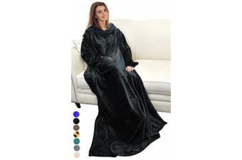 (Black) - Catalonia Platinum Blanket with Sleeves, Dual Microplush Fleece Sherpa Warm Blankets for Adult Women Men 183cm x 140cm, Black