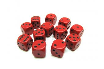 Opaque 16mm D6 Chessex Dice Block (12 Die) - Red with Black Pips