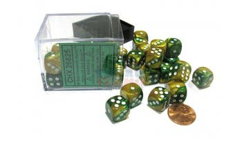Chessex Gemini 12mm D6 Dice Block (36 Dice) - Gold-Green with White Pips #26825