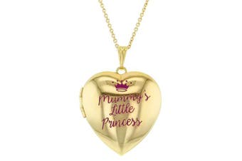 Mummy's Little Princess Crown Photo Pendant Heart Locket Necklace for Girls 41cm